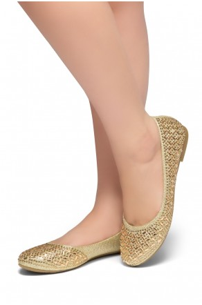 HerStyle Shine Bright-Round toe, jeweled embellishments (Gold)