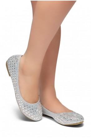 HerStyle Shine Bright-Round toe, jeweled embellishments (Silver)