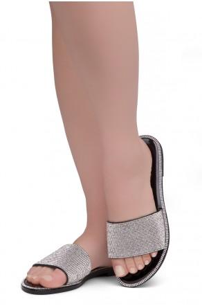 Herstyle Showstopper Women's Rhinestone Open Toe Flat Sandals Glitter Slides Slip on Shoes(2012Black)