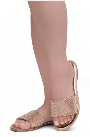 Herstyle Showstopper Women's Rhinestone Open Toe Flat Sandals Glitter Slides Slip on Shoes(2012Rosegold)