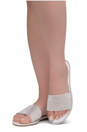 Herstyle Showstopper Women's Rhinestone Open Toe Flat Sandals Glitter Slides Slip on Shoes(2012White)