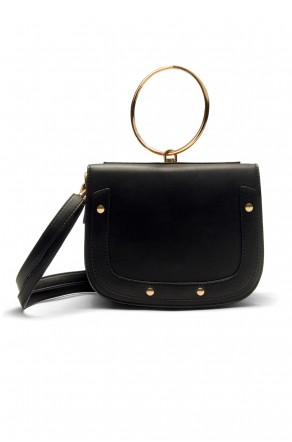 SHR-7065- Elegant Handcarry and Jewellery Stylish Ring Handle Bag (Black)