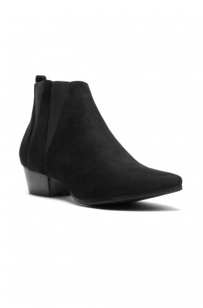 Women's Skyllar Faux Suede Pointy Toe Western Booties - Black