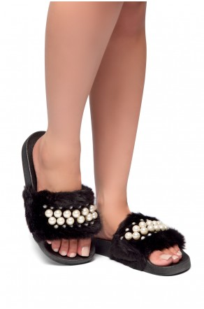 HerStyle SL-030317-Faux fur with pearls-(Black)