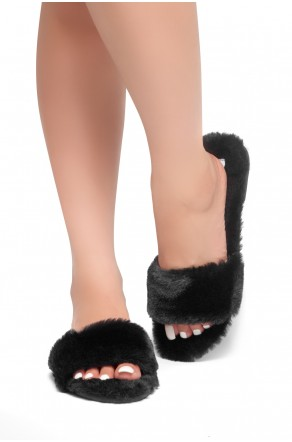 HerStyle SL-050317-Faux fur Sandals (Black)