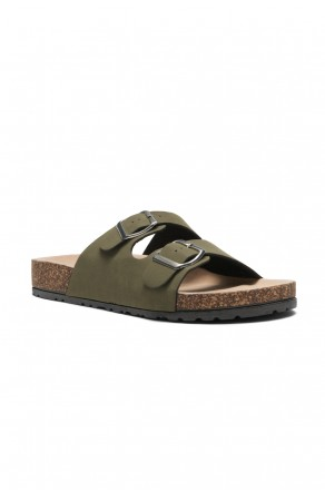 HerStyle SL-110115 Open Toe Buckled Cork Slide Sandal (Forest Green)
