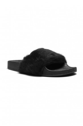 Herstyle Women's SL-160801 Faux Fur Slide Sandal(Black)