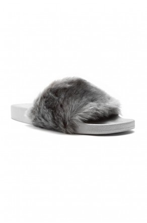 Herstyle Women's SL-160801 Faux Fur Slide Sandal(Grey)