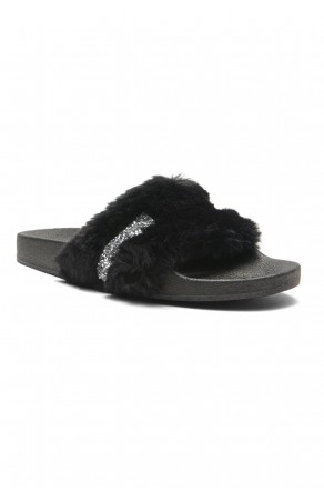 HerStyle SL-16110101 Faux Fur Slide Sandal with Rhinestone Accent (Black)