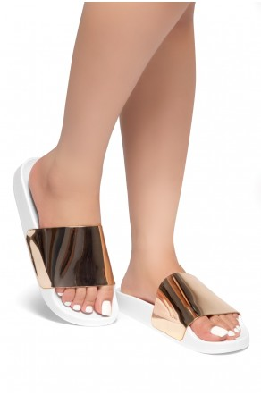 HerStyle SL-170102 Metallic Slide Sandal (Rose Gold)