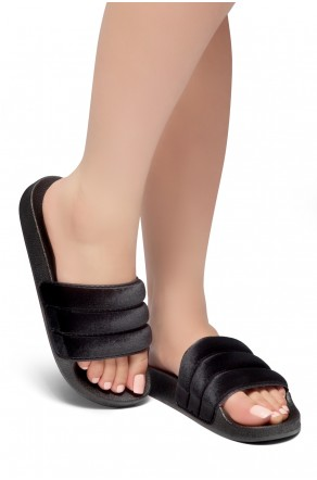 HerStyle SL-170807 Open Toe Slide Sandal (Black)
