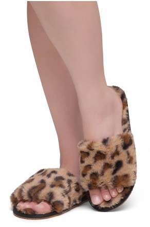 Shoe Land SL-ADRERINIA Women's Fuzzy Slides Open Toe Faux Fur Flat Sandals Fashion House Indoor or Outdoor Slippers (Leopard)