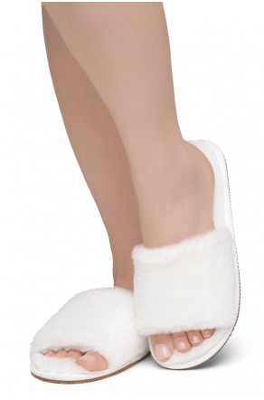 Shoe Land SL-ADRERINIA Women's Fuzzy Slides Open Toe Faux Fur Flat Sandals Fashion House Indoor or Outdoor Slippers (White)