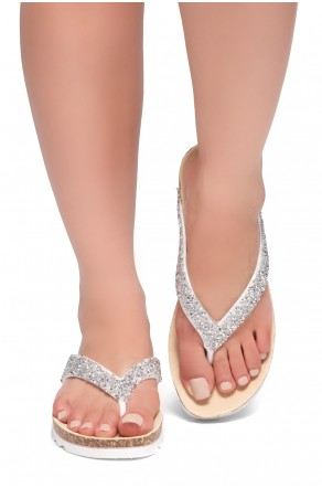 HerStyle SL-ALICE-Rhinestone Details Open Toe Thong Slide Sandal (Silver)