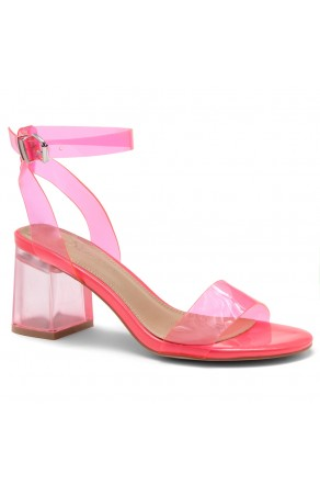 Shoe Land SL-Amaya Perspex Low Block Heel, ankle strap with an adjustable buckle (NeonPink)