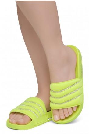 Shoe Land SL-Best Wishes-Women's Fashion Rhinestone Slide Slip On Summer Sandals (1901YELL/YELL)