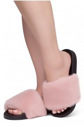 Shoe Land SL-Best Wishes-Women's Fashion Furry Slide Slip On Sandals (MAUVSPU/BLK)