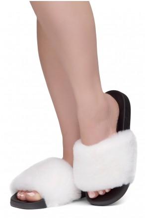 Shoe Land SL-Best Wishes-Women's Fashion Furry Slide Slip On Sandals (WHTSPU/BLK)