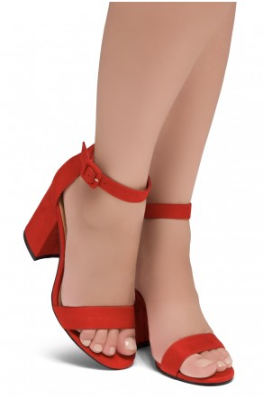 Shoe Land SL-CABRINI- Low Chunky Block Heel Ankle Strap Sandals (Red)