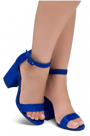Shoe Land SL-CABRINI- Low Chunky Block Heel Ankle Strap Sandals (RoyalBlue)
