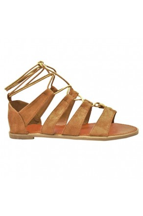 Women's Tan Sl-Callie Lace-up Gladiator Sandal