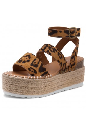 Shoe Land SL-Capri Womens Open Toe Ankle Strap Platform Sandals Causal Espadrille Wedge Shoes(Leopard)