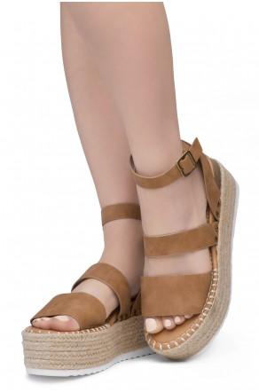 Shoe Land SL-Capri Womens Open Toe Ankle Strap Platform Sandals Causal Espadrille Wedge Shoes(Tan)