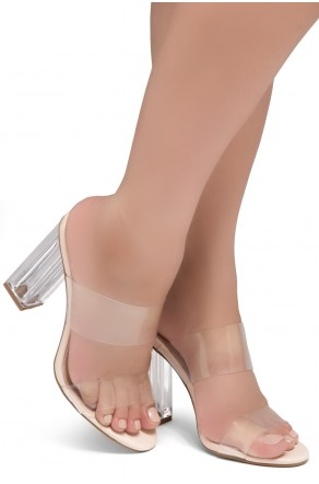 Shoe Land SL-Cllaary Perspex heel, Slide On Sandals(1906/ClearNude)