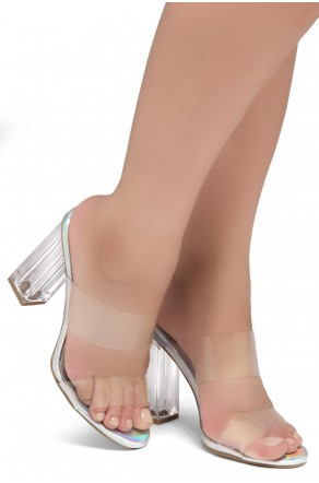 Shoe Land SL-Cllaary Perspex heel, Slide On Sandals(1906/ClearSilver)
