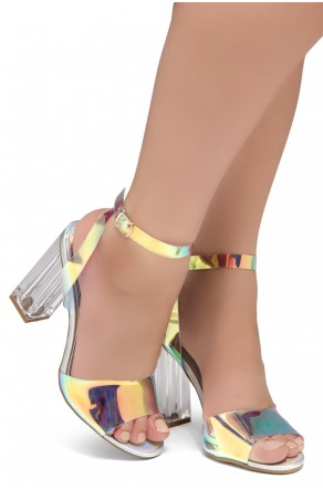 Shoe Land SL-Cllaary Perspex heel, ankle strap with an adjustable buckle (1910/Silver)