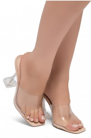 Shoe Land SL-Cllaary-Women's Clear Peep Toe Slip on Heeled Mules Slipper (1996/ClearNude)