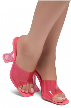 Shoe Land SL-Cllaary-Women's Clear Peep Toe Slip on Heeled Mules Slipper (1996/NeonPink)