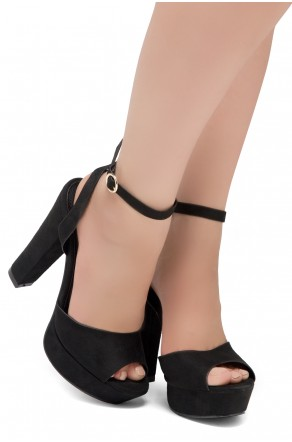 Shoe Land SL-Cutesy-Open Toe Open Back Chunky Platform Heel (1836/Black)