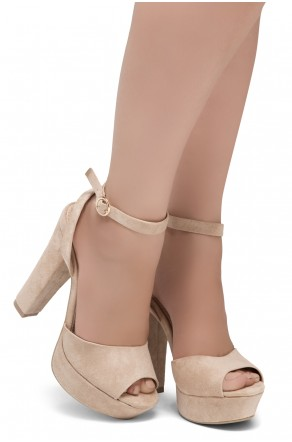 Shoe Land SL-Cutesy-Open Toe Open Back Chunky Platform Heel (1836/Blush)