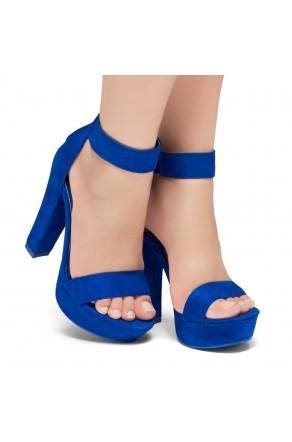 Shoe Land SL-Cutesy-Ankle Strap Chunky Platform Heel (RoyalBlue)