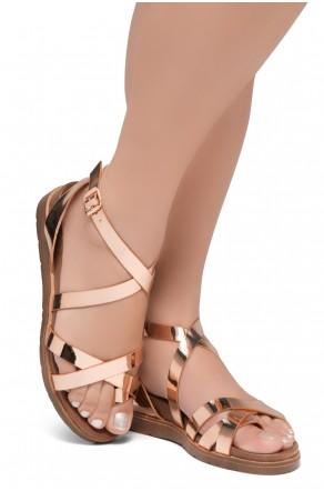 Shoe Land SL-Dessi-Women's Fashion Strap Sandals Toe Loop with Buckle Low Wedge Platform Heel Comfortable Shoes (RoseGold)