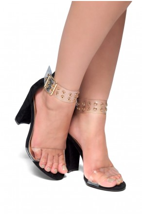 HerStyle SL-ESTORIA-Chunky heel, Perspex details (Black)