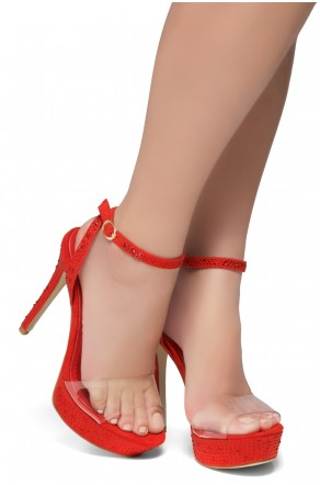 Shoe Land SL-Lascala- Ankle Strap and Perspex Vamp Platform Sandals (Clear/Red)