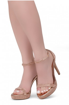 Shoe Land SL-Lovering- Ankle Strap Open Toe Back Closure Stiletto Heel (2020R.GLD/R.GLD)