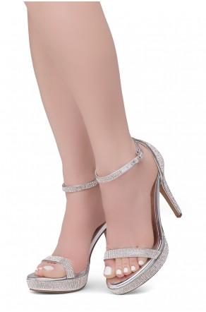 Shoe Land SL-Lovering- Ankle Strap Open Toe Back Closure Stiletto Heel (2020SilverSilver)