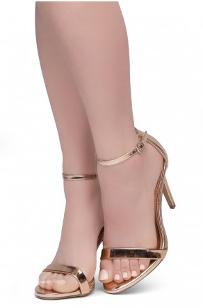 Shoe Land SL-Lovering- Ankle Strap Open Toe Back Closure Stiletto Heel (Rosegold)