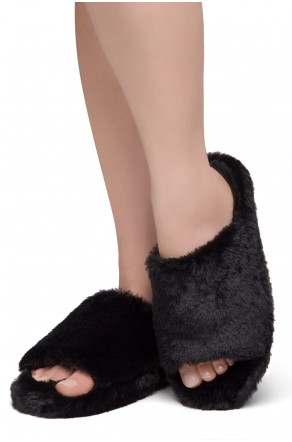 Shoe Land SL-McKenna Womens Fuzzy Slides Open Toe Casual Platform Wedge Sandals Plush Fleece Indoor or Outdoor Slippers (2020/BLK)