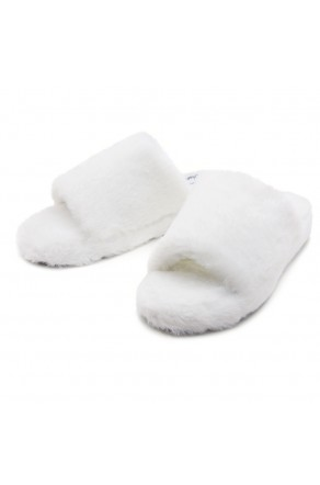 Shoe Land SL-McKenna Womens Fuzzy Slides Open Toe Casual Platform Wedge Sandals Plush Fleece Indoor or Outdoor Slippers (2020/WHT)