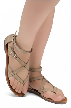 ShoeLand SL-Monaco Women's Open Toes Gladiator Flat Sandals Ankle Strap Thong Shoes(Natural)