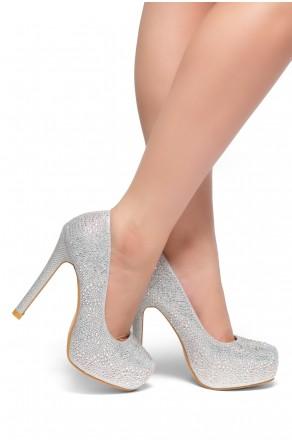 HerStyle SL-Nandita--Stiletto heel Platform, Jeweled embellishments (Silver)