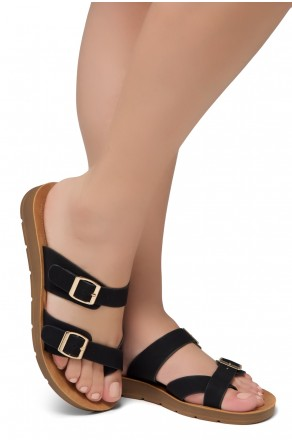 ShoeLand Women's Manmade NOLITA(SL) - Flat Sandal with buckle accents(Black)