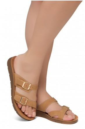 ShoeLand Women's Manmade NOLITA(SL) - Flat Sandal with buckle accents(Tan)