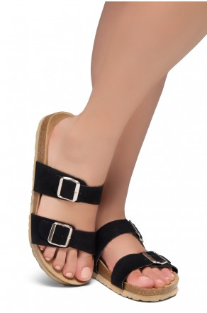 Shoe Land SL-Nylah-Open Toe Buckled Cork Slide Sandal(Black)