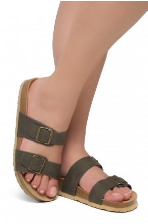 Shoe Land SL-Nylah-Open Toe Buckled Cork Slide Sandal(Khaki)