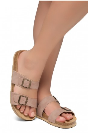 Shoe Land SL-Nylah-Open Toe Buckled Cork Slide Sandal(Mauve)